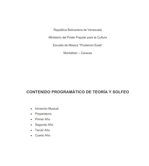 Descarga los programas de Teoría y Solfeo