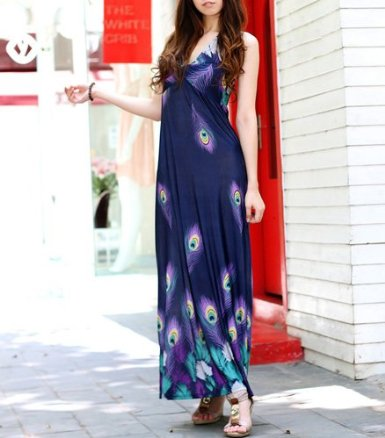 Navy Blue Maxi Dress on Peacock Print Navy   Dark Blue Long Maxi Dress   Buy This Dress Here