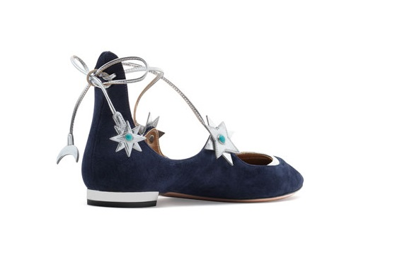 aquazzura x poppy delavigne  lace up flats with stars