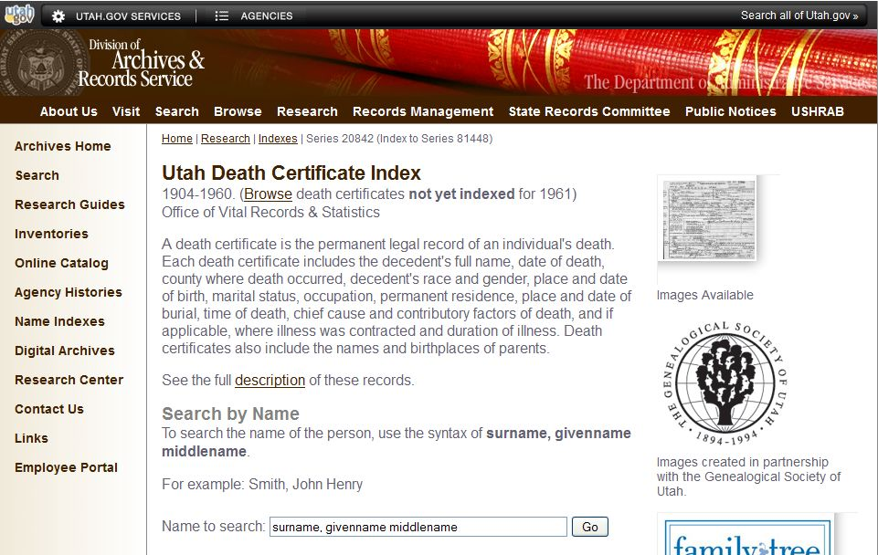 The Knowles Collection: Utah State Death Certificates 1904-1960