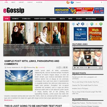 eGossip blog template. template image slider blog. magazine blogger template style. wordpress theme to blogger