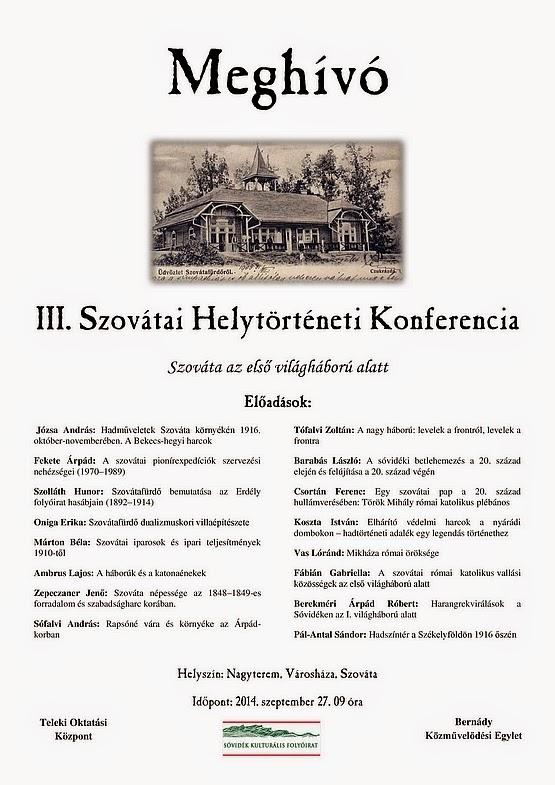 III. Szovátai Helytörténeti Konferencia