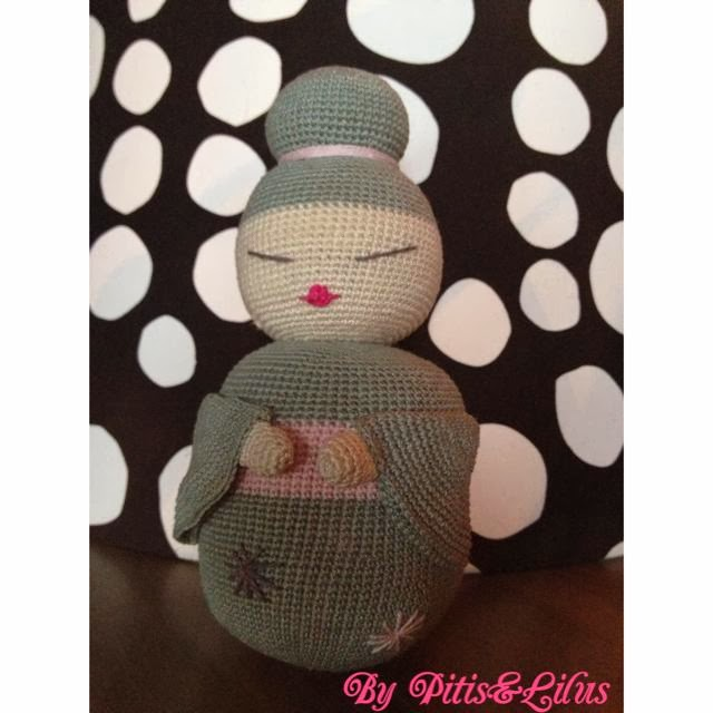 Amigurumi Geisha doll mint / Muñeca Amigurumi en color Mint by Pitis&Lilus