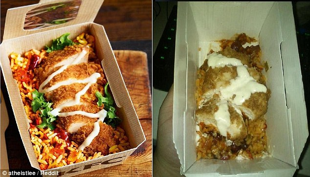 KFC Rice Box Advertisement vs Real box picture