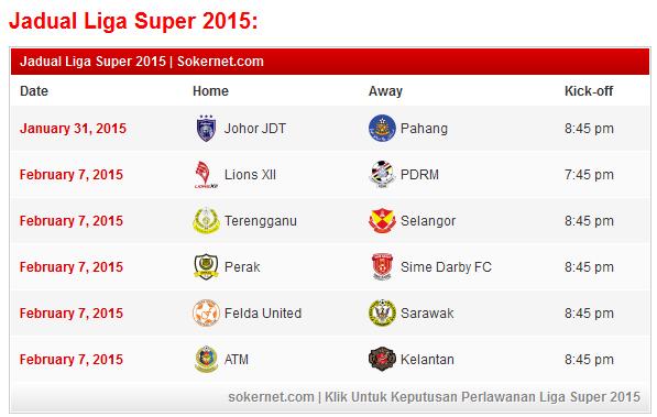 Jadual Liga Super 2015