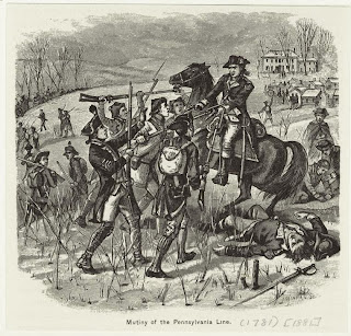 In 1781 on this day a general uprising in the Continental Army began to take shape in the Winter Camp at Jockey Hollow near Morristown in New Jersey. History would simply record that the catalyst was the killing of three officers in a drunken rage, but emotions actually ran far deeper than that, in actual fact it was a revolt-within-a-revolt.