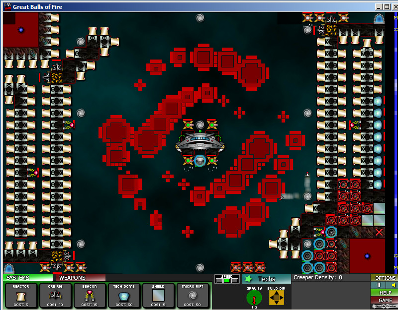 Great balls of fire map 2102 creeper world 2 walkthroughs attacking the bottom creeper pit youll notice im still at 15 energy even with all the reactors i kept building out the shield wall as needed and have a gumiabroncs Images