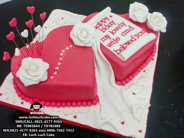 love heart shape fondant romantic cake