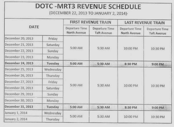 MRT schedule Holidays 2013, New Year 2014