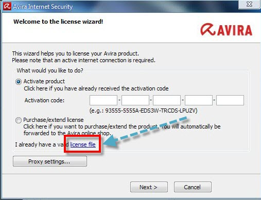 1- Run Setup.exe 2- Click Next and Click on the license key as shown bel