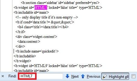 Tampilan EDIT HTML TEMPLATE untuk widget