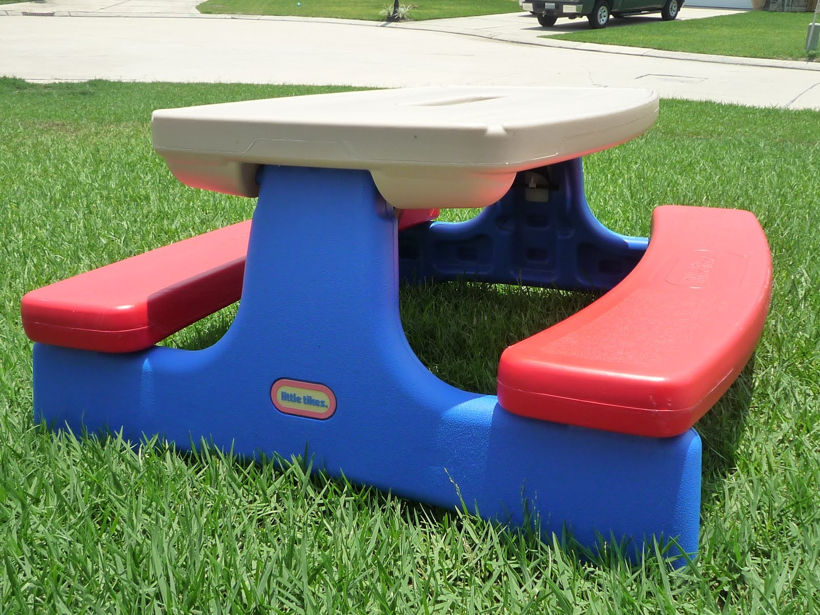 My Son Eli, Has The Red And Blue Picnic Table I Am Sure You Have Seen At  Your Local Toy Store. It Looks Like This:
