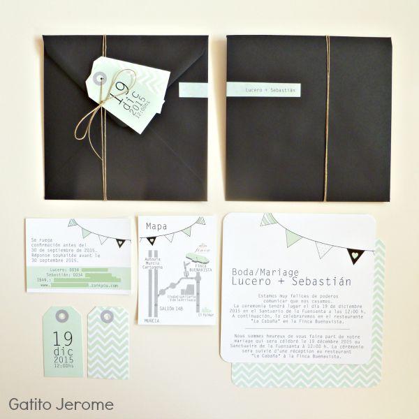 Invitacion de boda guirnalda, verde negro y gris, con hilo de cañamo