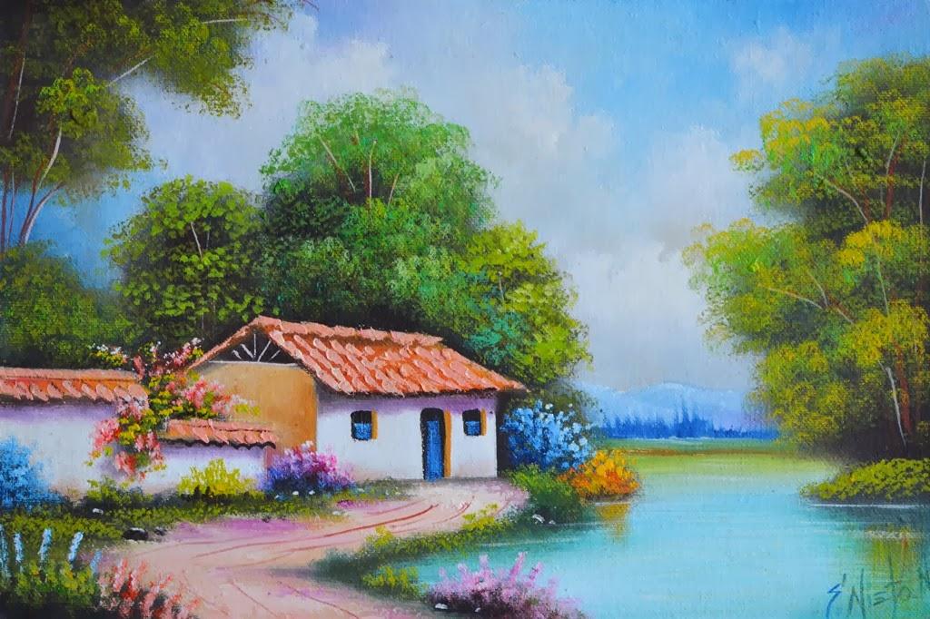 Pintura moderna y fotograf a art stica paisaje - Paisajes de casas ...