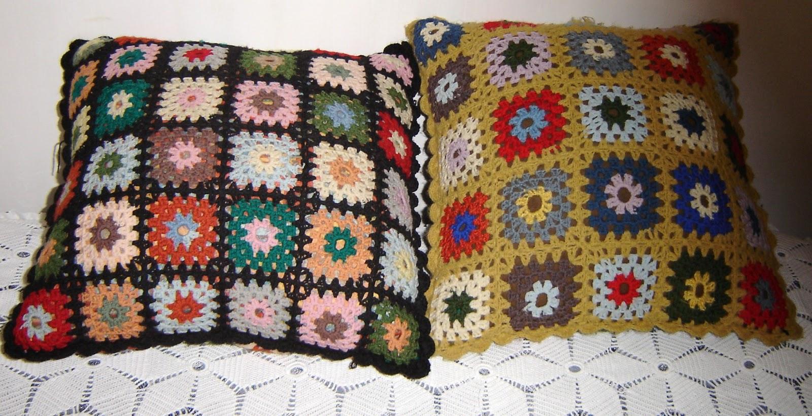 Bordados ganchillo y punto cojines de cuadros de ganchillo - Cojines de lana ...