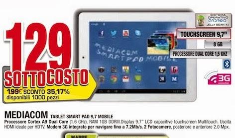 Nel nuovo volantino Comet arriva il sottocosto; il tablet MP95S23GW a 129 euro: buona offerta!