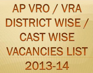 AP VRO VRA District Wise, Cast Wise Vacancies List  2013 -14 at www.ccla.cgg.gov.in