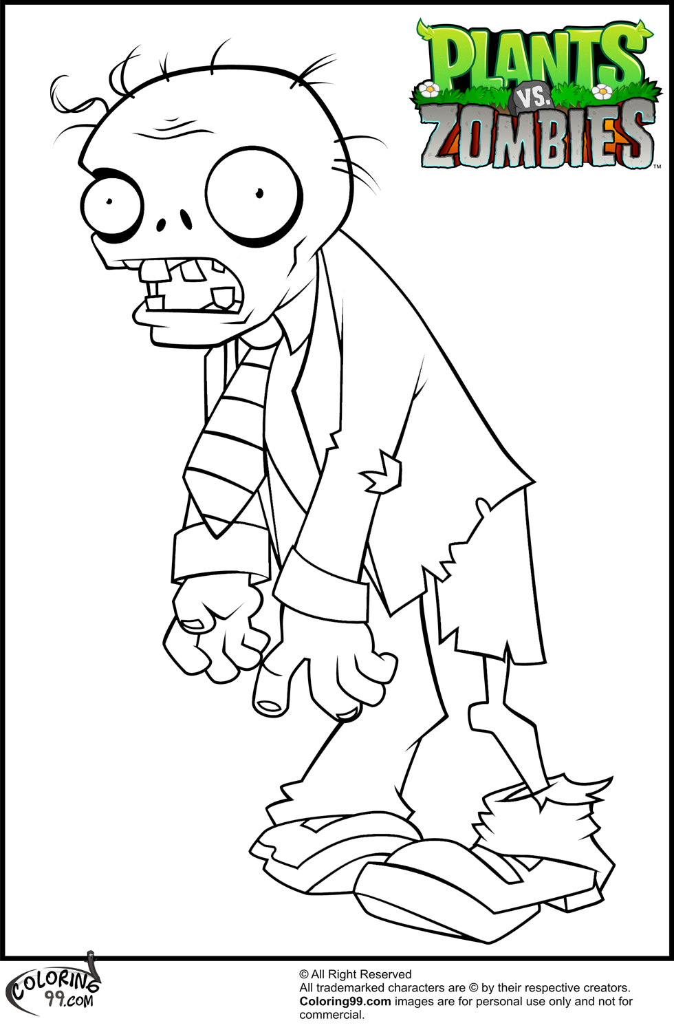 Coloring Pages For Plants Vs Zombies : Plants vs zombies coloring pages team colors