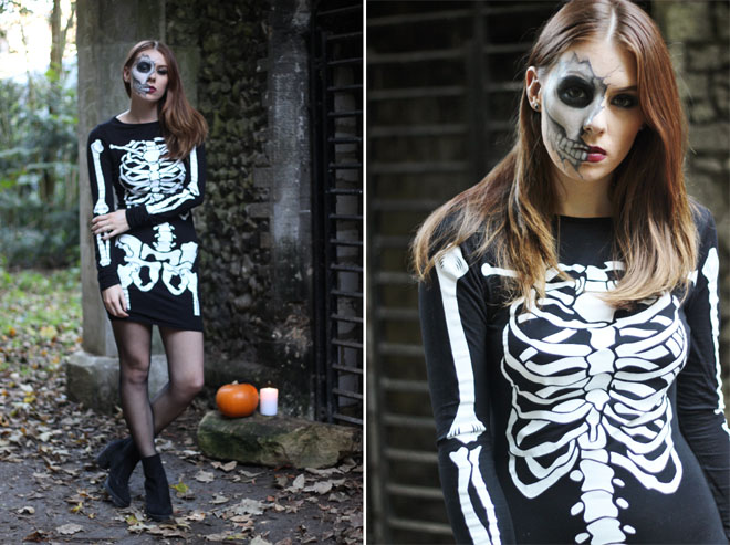Boohoo Skeleton Midi Dress, Cracked Skull Halloween Tutorial