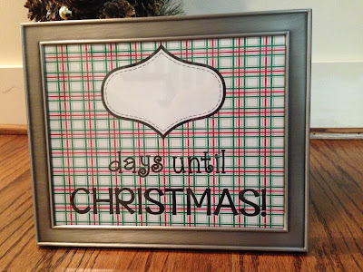 Print this FREE Christmas Countdown poster and put it in a 8x10 picture frame.  Write on the glass using a dry erase marker.