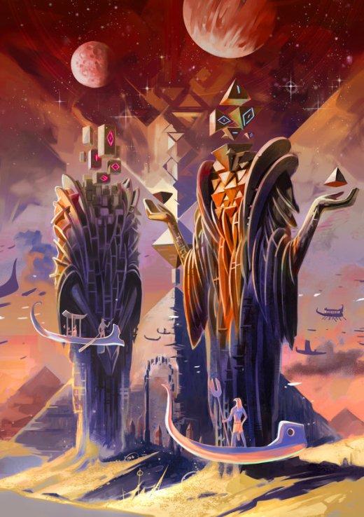 Jian Guo breathing2004 deviantart ilustrações fantasia ficção científica surreal vintage
