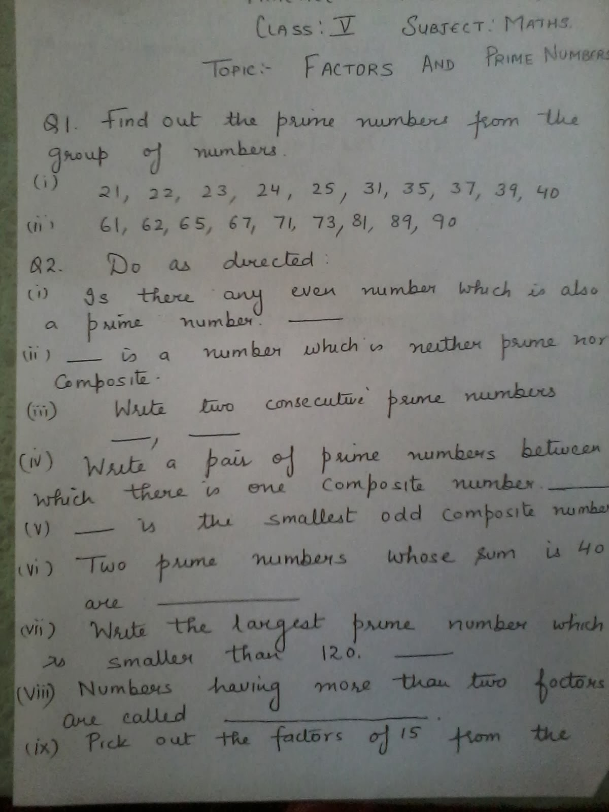 IMO Practice Worksheet,Class 5 Nov.23 | Be Maths Smart