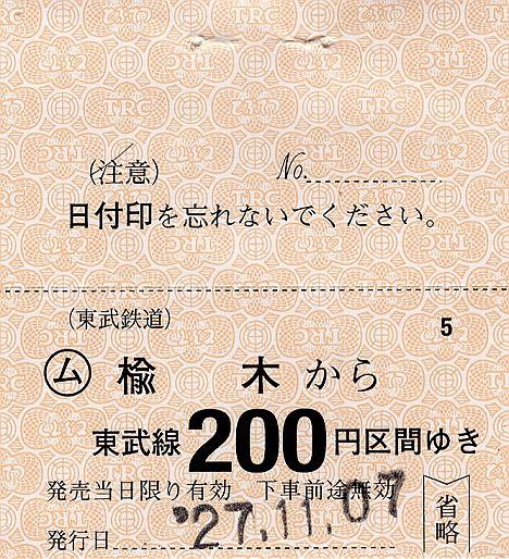 東武鉄道 常備軟券乗車券9 日光線 楡木駅