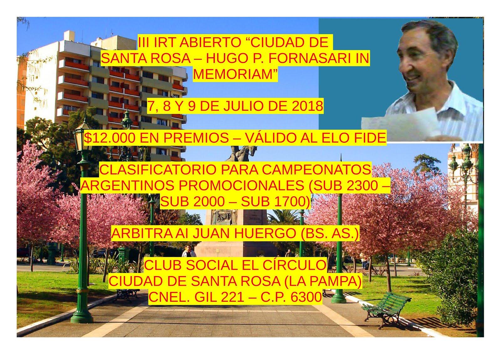 III IRT Ciudad de Santa Rosa - Hugo P. Fornasari In Memoriam