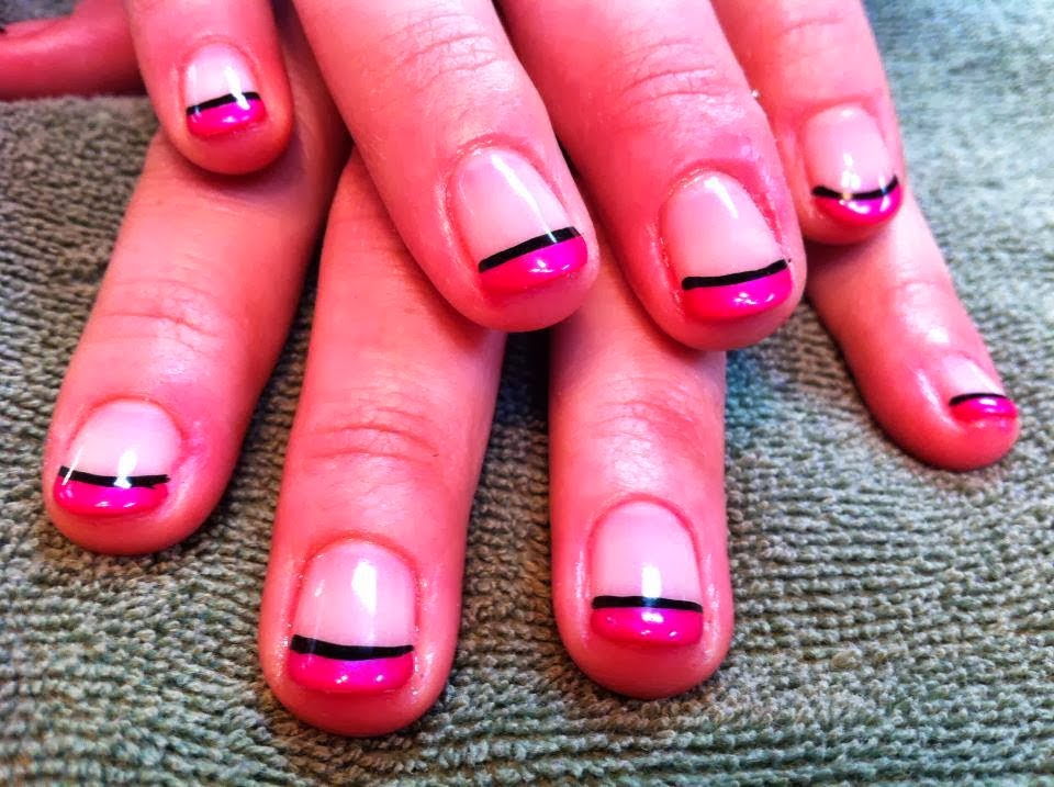 Gel-color French Manicure with a natural flesh colored - a hot glossy custom mix pink for the French with black smile outlines on short nails