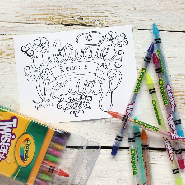 Free Hand Lettered Cultivate Inner Beauty Bible Verse Coloring Page
