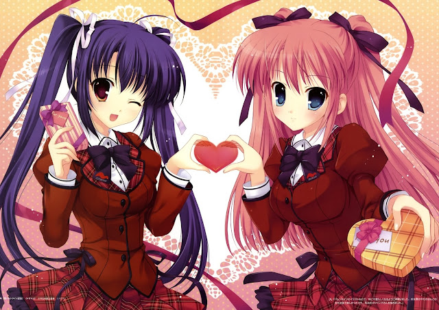 Anime School Girls,anime valentines,valentines day