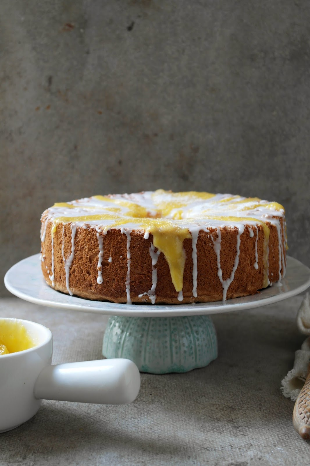 twiggstudios: angel food cake with lemon lime and mango curd