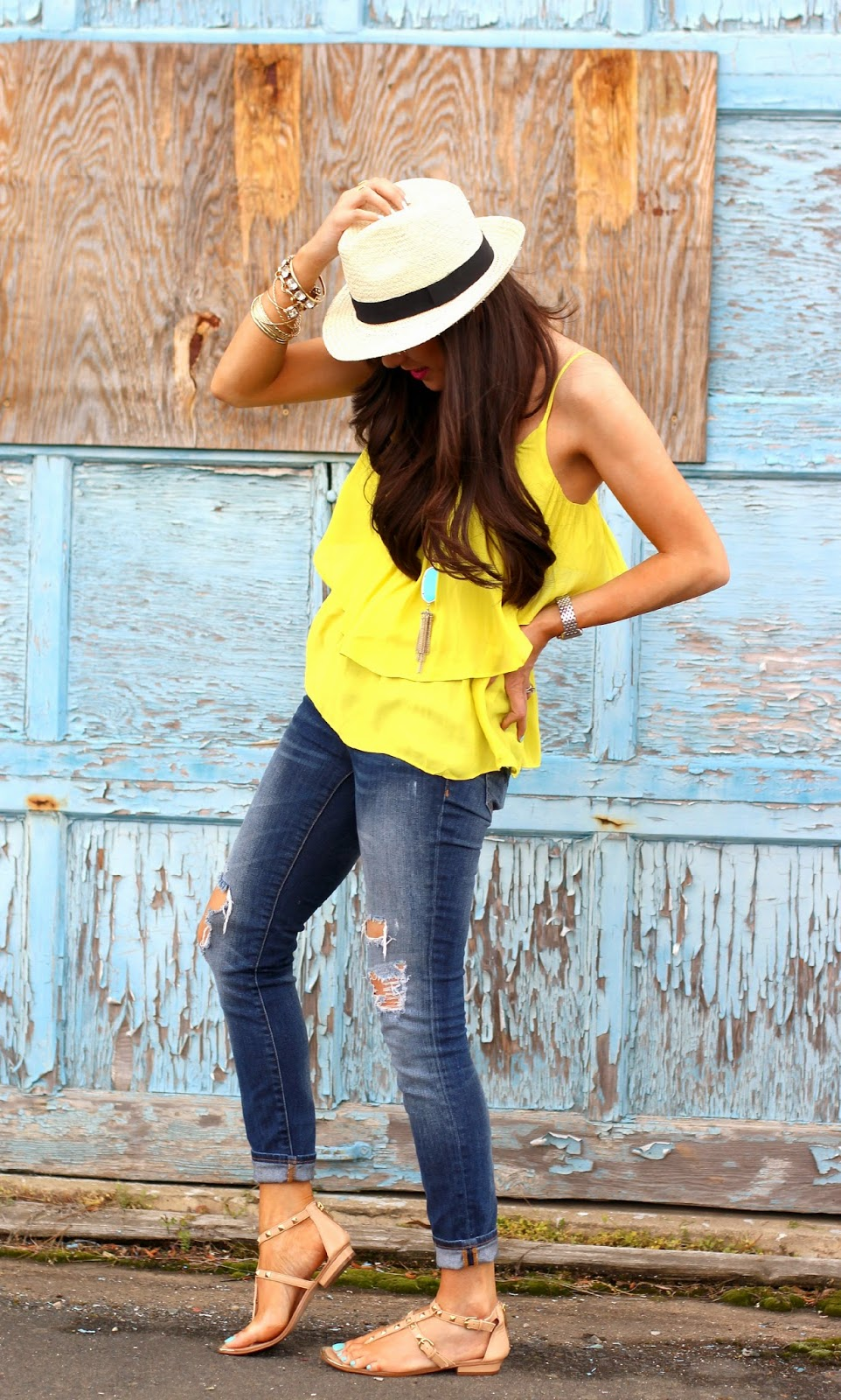 www.TheSweetestThingBlog.com, Emily Gemma, How To Wear A Fedora, Ripped Skinny Jeans, Valentino Inspired Sandals, Pinterest Summer Outfit 2014, Pinterest SUmmer Fashion, Michael Kors Runway Watch, Fashion Blog, Style Blog, Pinterest Outfits for Summer, Karen Walker Super Duper Strength Sunglasses, Gold Arm Party, Gold Bracelets, Nordstrom Studded Sandals, Gap Ripped Skinny Jeans, Forever 21 Neon Yellow Tank, Gorjana Rings, Mindy Maes Market Bracelet, Michele Diamond Deco Watch, Kendra Scott Necklace in turquiose