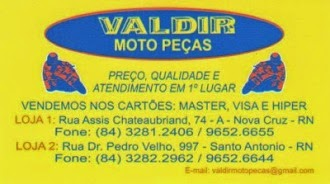 Confira os Melhores preços da região em Valdir Motos Peças em Nova Cruz.
