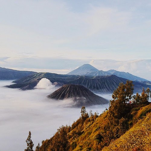 View of Mount Bromo with Mount Semeru on the background