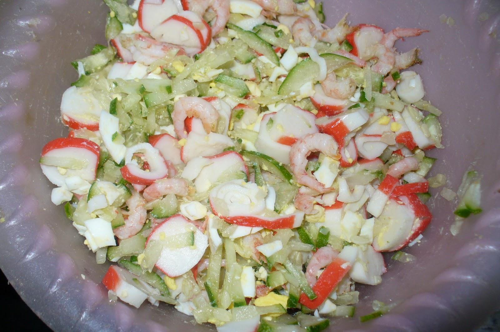 Салат с крабом и креветками рецепты с