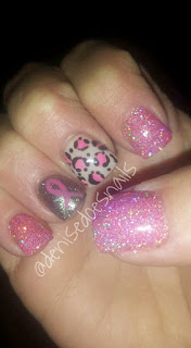 breast cancer awareness nails with cheetah pring