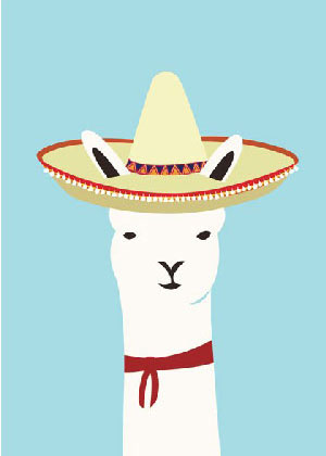 llama friends Print by Alice Berry