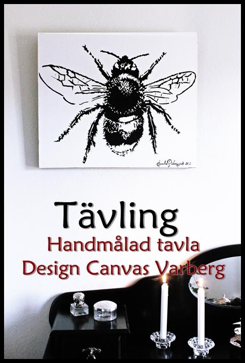 Tävling om en handmålad canvastavla med humla som motiv. Tavlan är svartvit och är målad av Annelie på Design Canvas Varberg.