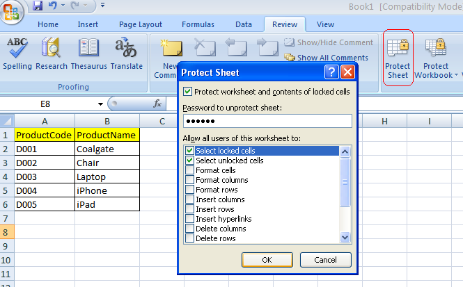 how to secure excel file with password