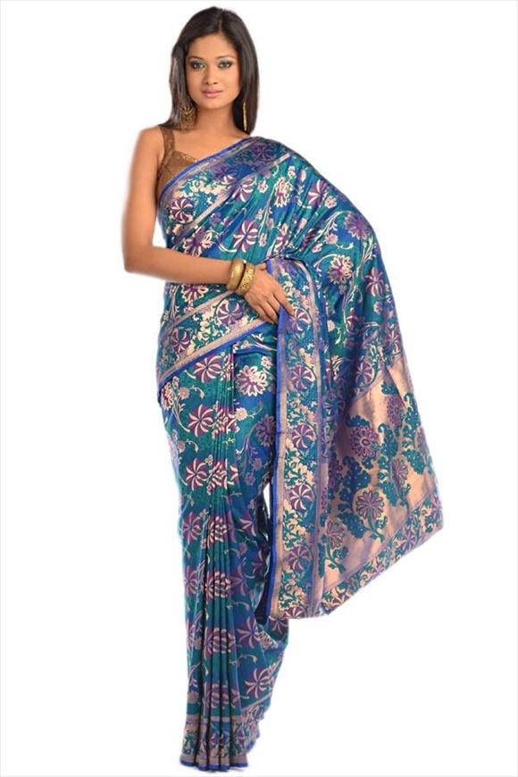 Cobalt Kattan Silk Banarasi Saree