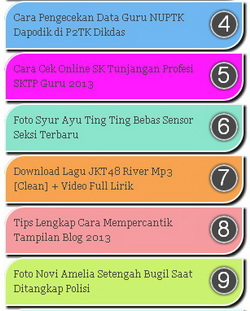 widget popular post warna pelangi rainbow