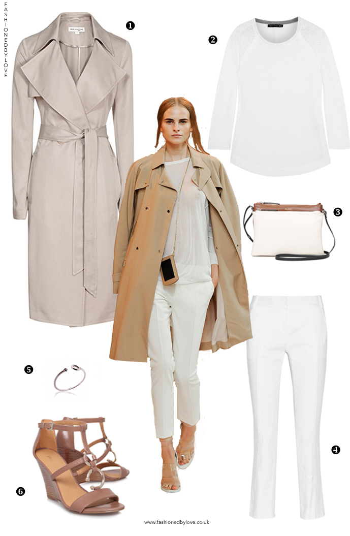 How to style a trench coat? How to wear white trousers? Outfit idea and designer look for less inspired by Porsche Design Spring/Summer 2015 collection / via fashioned by love british fashion blog