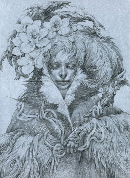 13-Orchids-Snakes-Olga-Anwaraidd-Drawings-Fantasy-Portraits-Imaginary-Characters-www-designstack-co