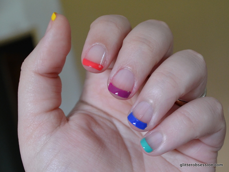 Rainbow French Nail Art