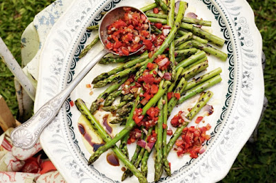Barbecued asparagus with roast capsicum salsa Recipe