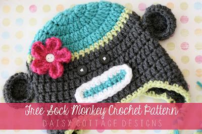 free crochet pattern sock monkey hat