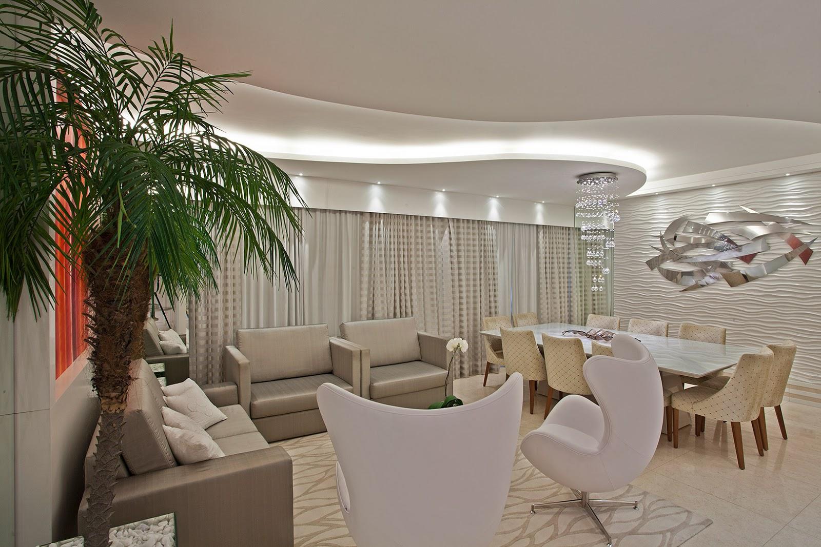 Sala De Jantar Iara Kilaris ~ Ideia do pendente de cristal e das poltronas para sala de estar!
