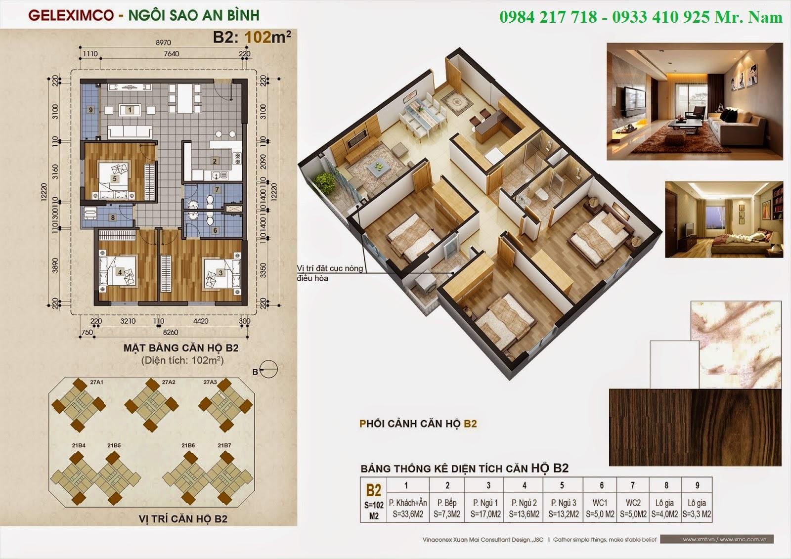 Thiết kế căn hộ B2 diện tích 102 m2 chung cư Green Stars