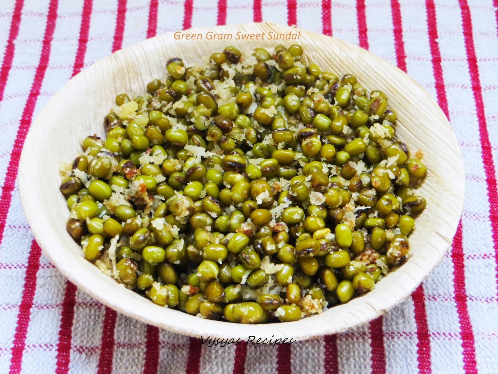 sweet sundal - green gram sweet sundal -  pachai payaru sweet sundal